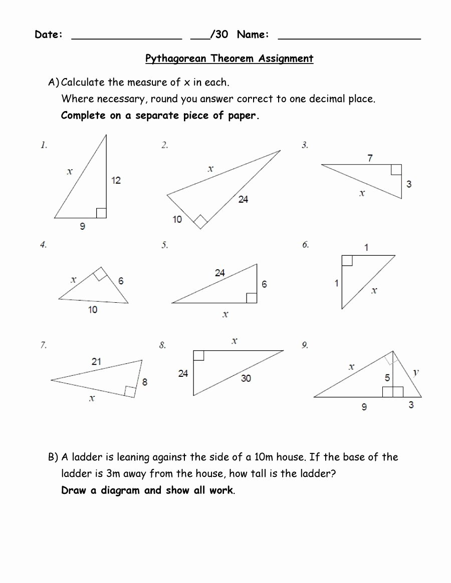 Pythagorean theorem Practice Worksheet Unique 48 Pythagorean theorem Worksheet with Answers [word Pdf]