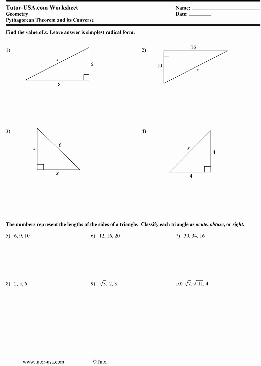 Pythagorean theorem Word Problems Worksheet Elegant 48 Pythagorean theorem Worksheet with Answers [word Pdf]