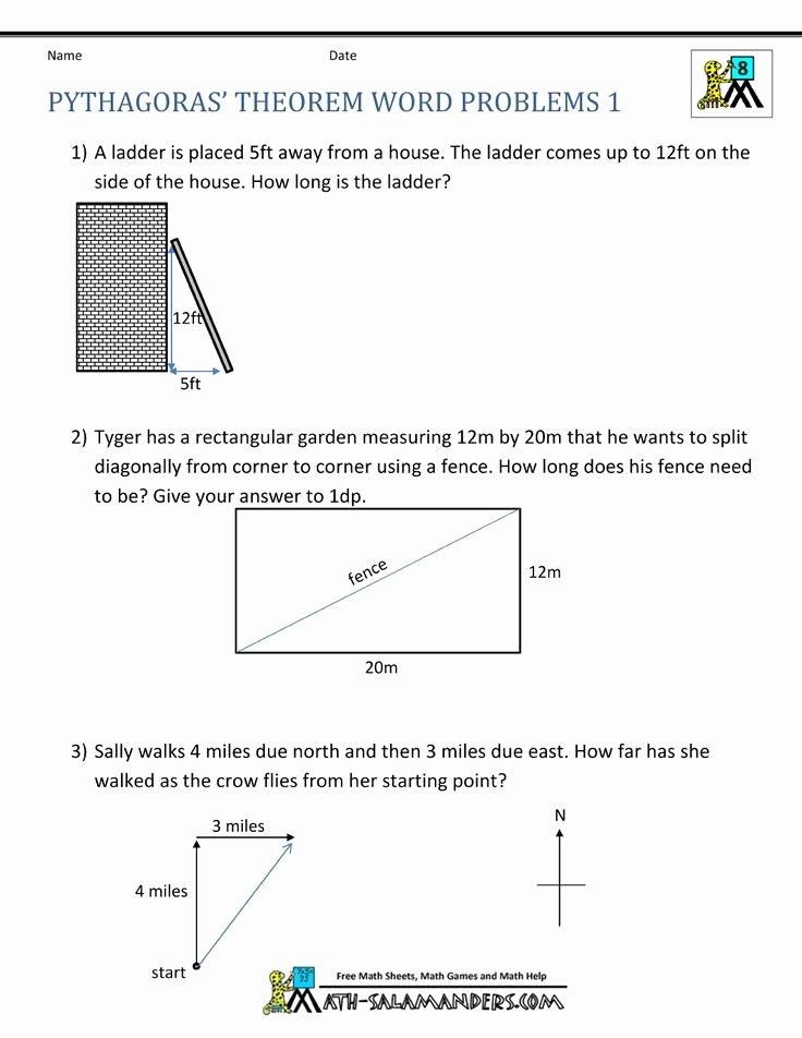 Pythagorean theorem Word Problems Worksheet Elegant Pythagoras theorem Questions Word Problems 1