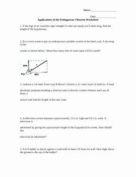 Pythagorean theorem Word Problems Worksheet Fresh Applications Of the Pythagorean theorem Worksheet Word