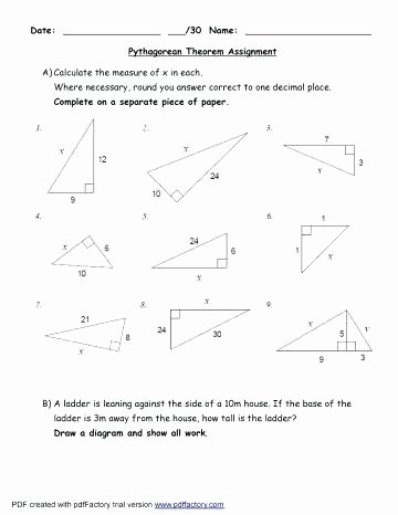 Pythagorean theorem Word Problems Worksheet Fresh Pythagorean theorem Worksheet with Answers