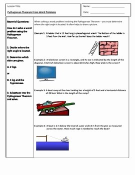 Pythagorean theorem Word Problems Worksheet Inspirational Pythagorean theorem Word Problems by Tammie Akins Dickens