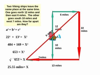 Pythagorean theorem Word Problems Worksheet Lovely Powerpoint Pythagorean theorem Basic and Word Problems