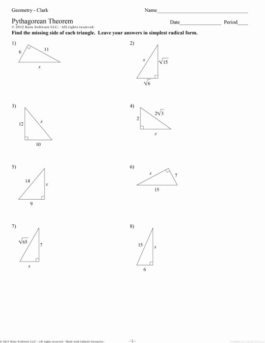 Pythagorean theorem Word Problems Worksheet Lovely Pythagorean theorem Word Problems Worksheet Kuta the Best