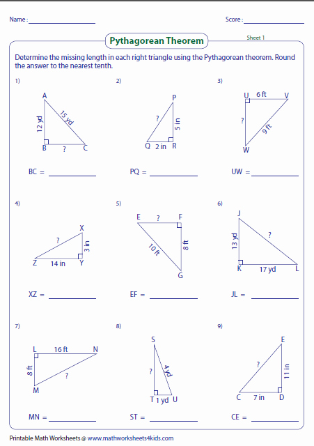 Pythagorean theorem Word Problems Worksheet New Pythagorean theorem Worksheets