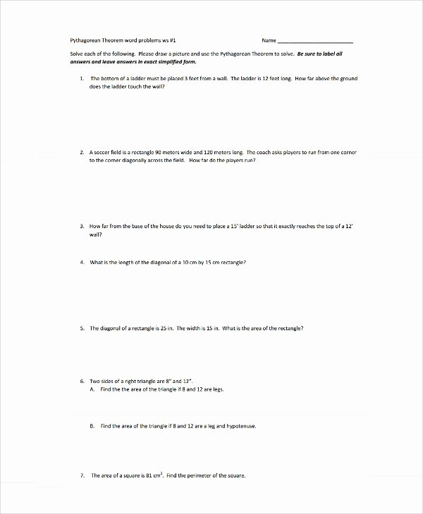 Pythagorean theorem Word Problems Worksheet New Sample Pythagorean theorem Worksheet 9 Free Documents