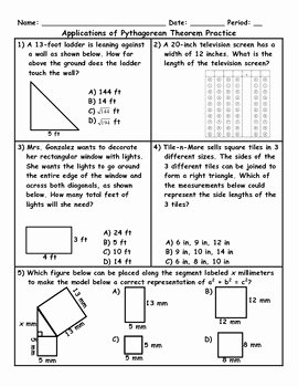 Pythagorean theorem Word Problems Worksheet Unique Applications Of the Pythago by Jessica Eaton