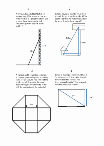 Pythagorean theorem Word Problems Worksheet Unique Real Life Pythagoras Problems by Bethdymond