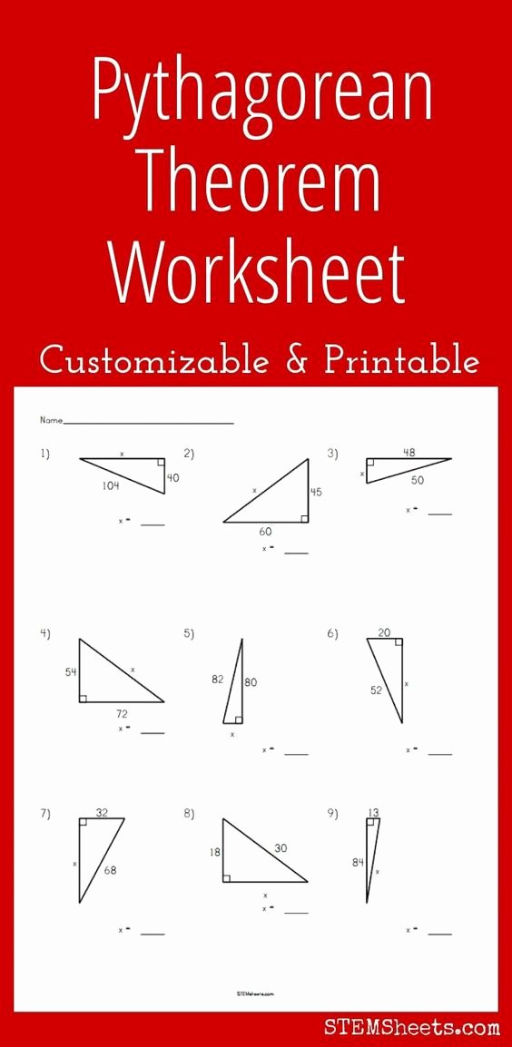 Pythagorean theorem Worksheet 8th Grade Beautiful Math Pythagorean theorem and Worksheets On Pinterest
