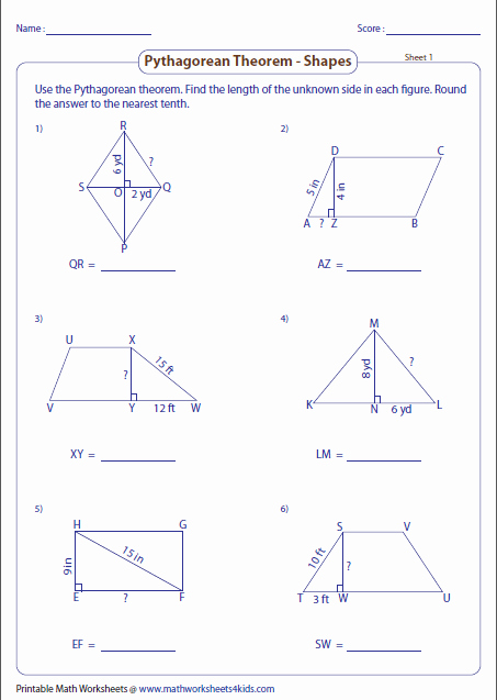 Pythagorean theorem Worksheet 8th Grade Beautiful Math Worksheet Pythagorean theorem Chips Math Best Free