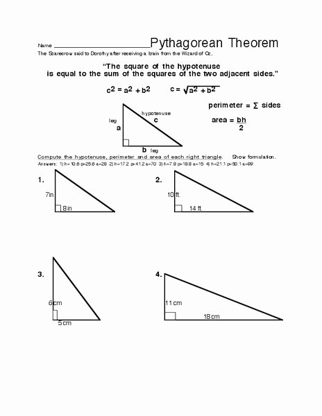Pythagorean theorem Worksheet 8th Grade Beautiful Pythagorean theorem Worksheet for 8th 10th Grade