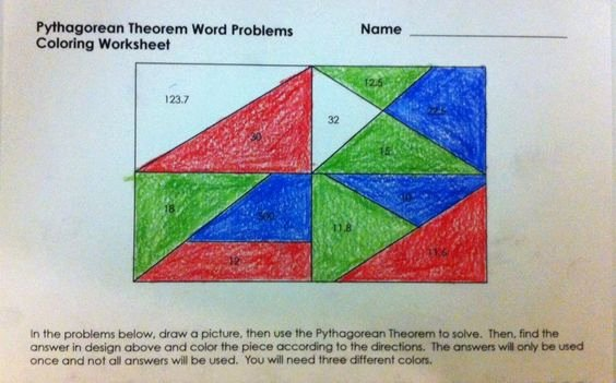 Pythagorean theorem Worksheet 8th Grade Best Of Pythagorean theorem Word Problems Coloring Worksheet