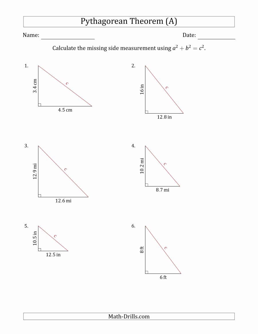 Pythagorean theorem Worksheet 8th Grade Luxury Calculate the Hypotenuse Using Pythagorean theorem No