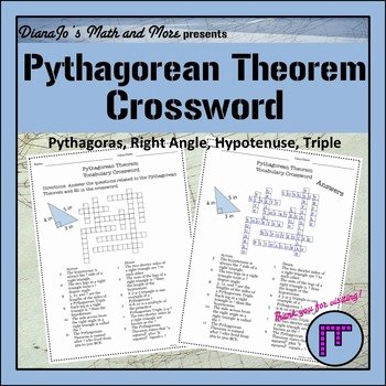 Pythagorean theorem Worksheet 8th Grade New 8th Grade Math Pythagorean theorem Vocabulary Crossword