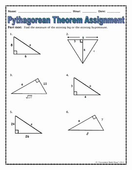 Pythagorean theorem Worksheet 8th Grade New Right Triangles the Pythagorean theorem Notes and
