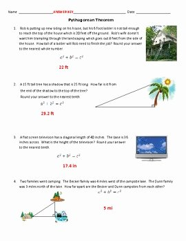 Pythagorean theorem Worksheet Answer Key Beautiful Pythagorean theorem In Real Life Mon Core 8 G by