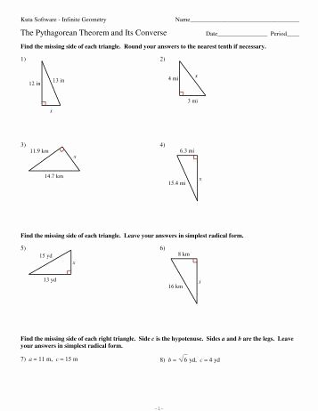Pythagorean theorem Worksheet Answer Key Lovely 8 Multi Step Special Right Triangles Kuta software