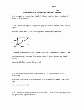 Pythagorean theorem Worksheet Answer Key Lovely Applications Of the Pythagorean theorem Worksheet Word