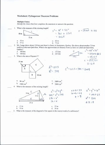 Pythagorean theorem Worksheet Answer Key Lovely Converse 0f Pythagorean theorem Cp Objective Use the