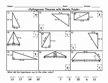 Pythagorean theorem Worksheet Answer Key Lovely Pythagorean theorem with Models Puzzle Riddle Activity by
