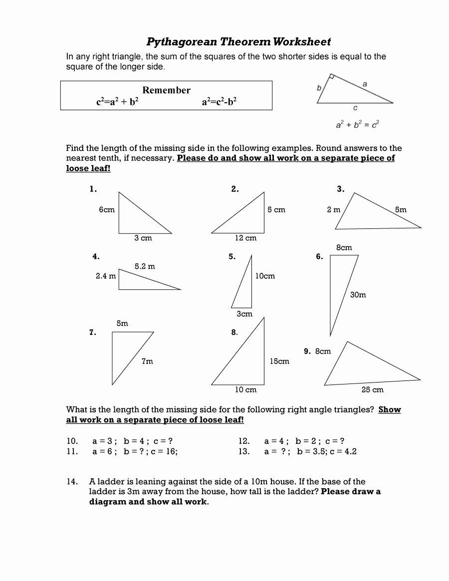 Pythagorean theorem Worksheet Answer Key Luxury 48 Pythagorean theorem Worksheet with Answers [word Pdf]
