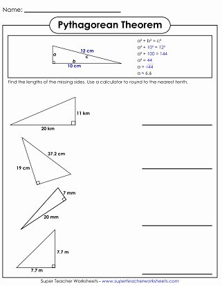 Pythagorean theorem Worksheet Answer Key New Pythagorean theorem Worksheet