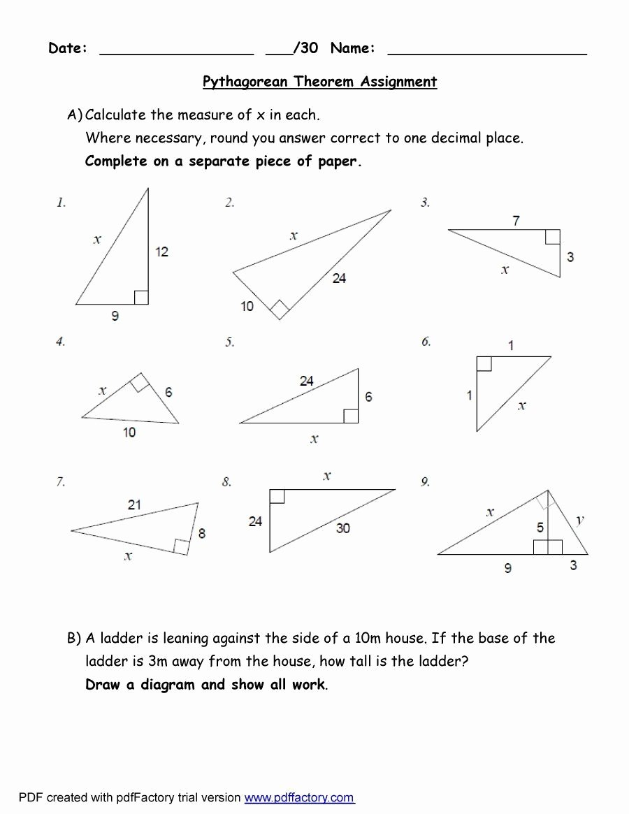 Pythagorean theorem Worksheet Answer Key Unique Pythagorean theorem Worksheet Answers
