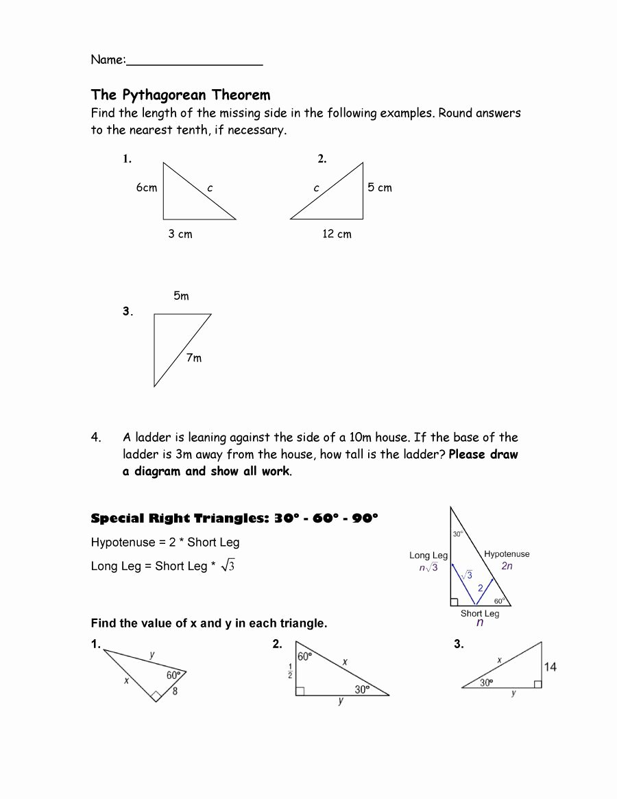 Pythagorean theorem Worksheet Answers Awesome 48 Pythagorean theorem Worksheet with Answers [word Pdf]