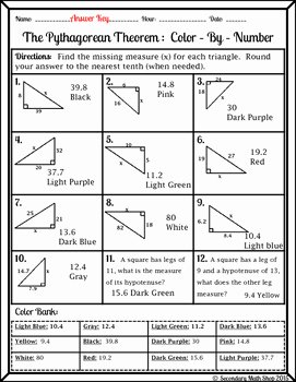 Pythagorean theorem Worksheet Answers Awesome Right Triangle Pythagorean theorem Color by Number