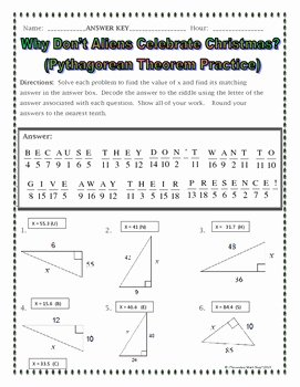 Pythagorean theorem Worksheet Answers Awesome Right Triangles Pythagorean theorem Christmas Riddle