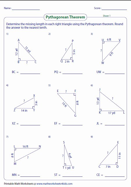 Pythagorean theorem Worksheet Answers Beautiful Pythagorean theorem Worksheet