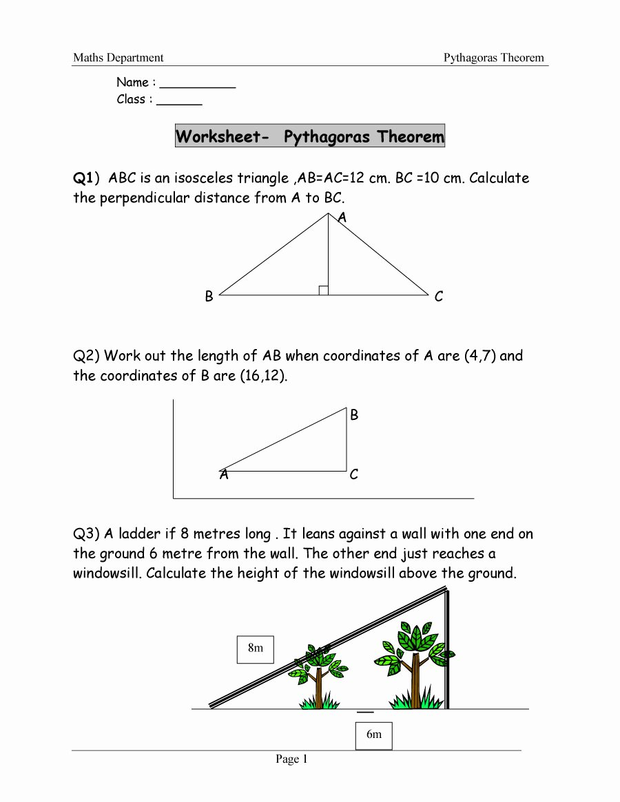 Pythagorean theorem Worksheet Answers Fresh 48 Pythagorean theorem Worksheet with Answers [word Pdf]