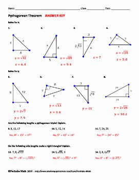 Pythagorean theorem Worksheet Answers Inspirational Pythagorean theorem Geometry Worksheet by Pecktabo Math