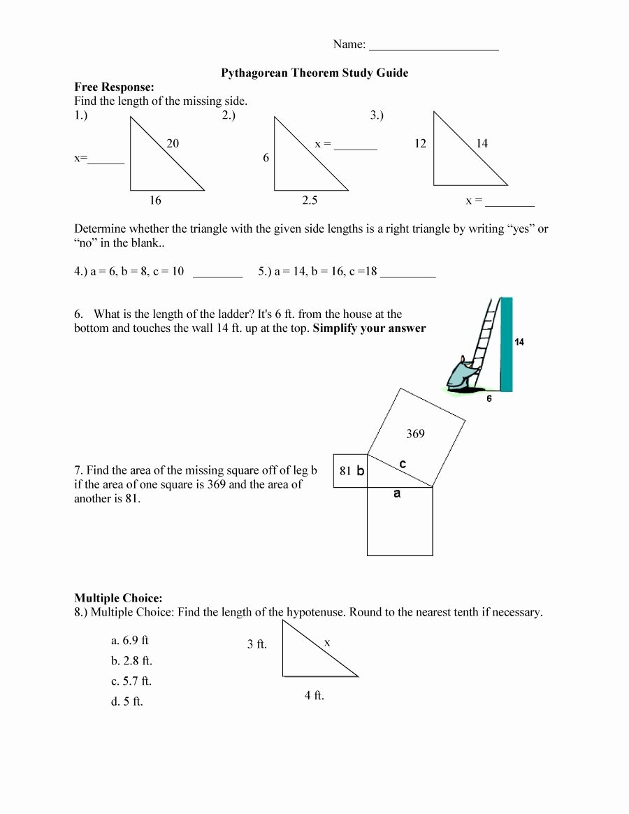 Pythagorean theorem Worksheet Answers Luxury 48 Pythagorean theorem Worksheet with Answers [word Pdf]