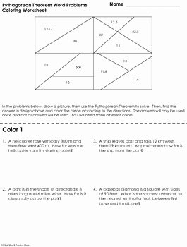 Pythagorean theorem Worksheet Answers New Pythagorean theorem Word Problems Coloring Worksheet by