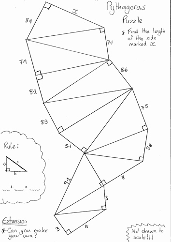 Pythagorean theorem Worksheet Answers Unique Pythagoras Puzzle Worksheet by Dandavies8 Teaching