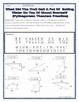 Pythagorean theorem Worksheet Answers Unique Right Triangles Geometry Pythagorean theorem Riddle
