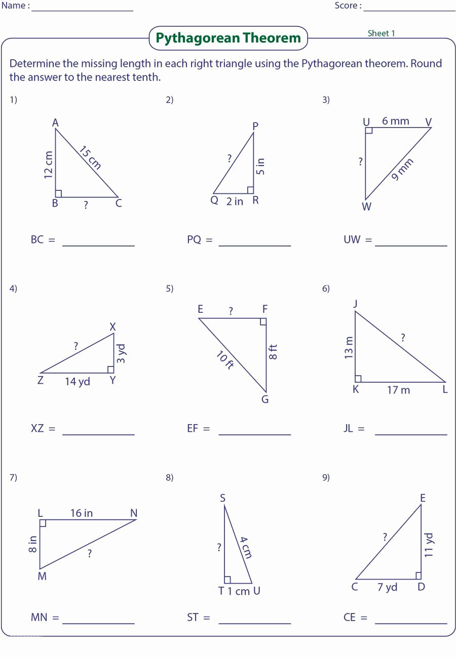 Pythagorean theorem Worksheet with Answers Fresh 48 Pythagorean theorem Worksheet with Answers [word Pdf]