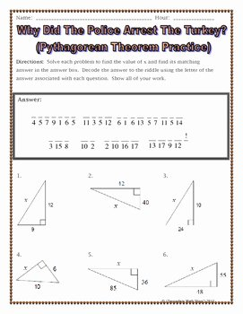 Pythagorean theorem Worksheet with Answers Fresh Right Triangles Pythagorean theorem Thanksgiving Riddle