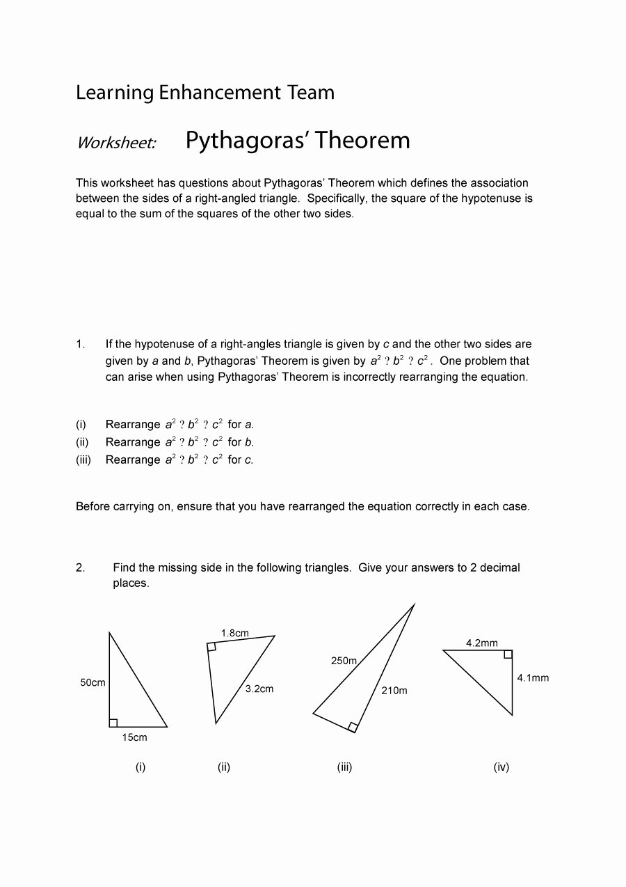 Pythagorean theorem Worksheet with Answers Inspirational 48 Pythagorean theorem Worksheet with Answers [word Pdf]