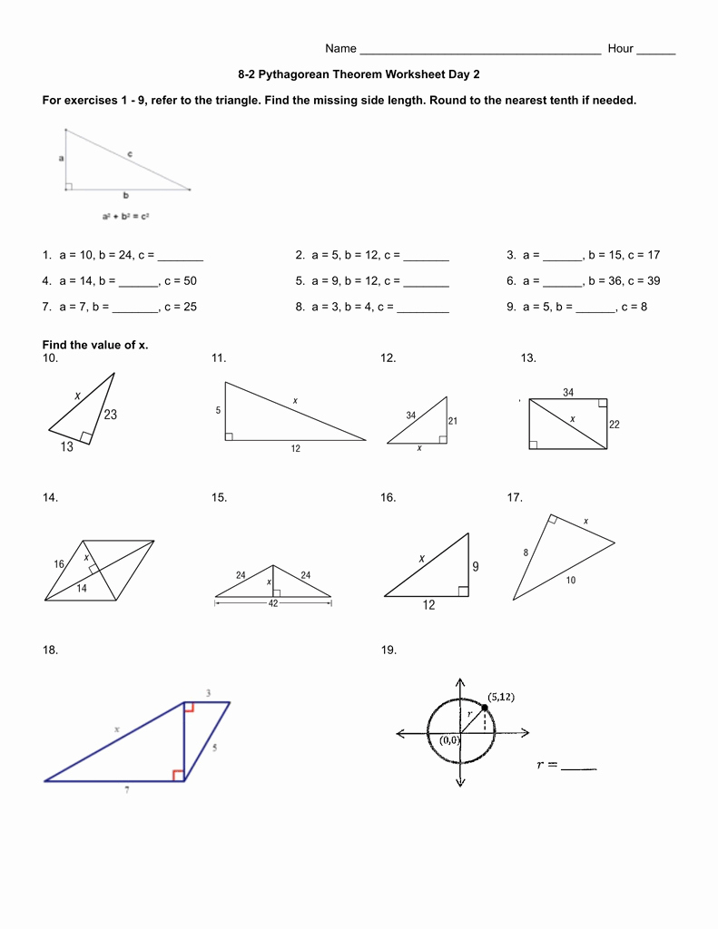 Pythagorean theorem Worksheet with Answers Inspirational 8 2 Pythagorean theorem Worksheet Day 2