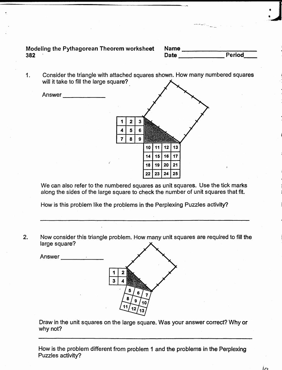 Pythagorean theorem Worksheet with Answers New 48 Pythagorean theorem Worksheet with Answers [word Pdf]