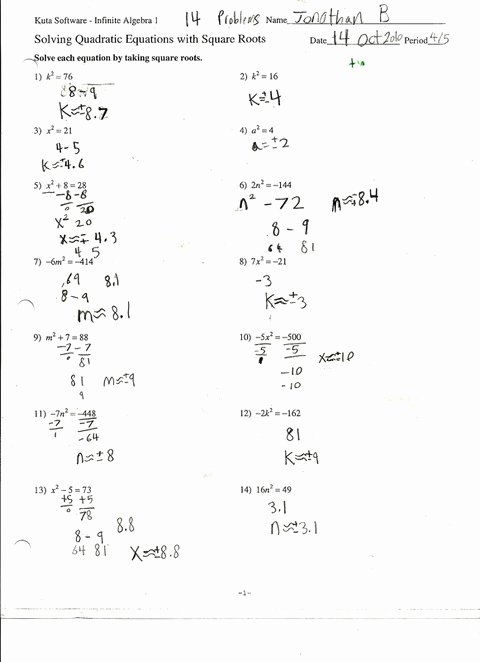 Quadratic Equation Worksheet with Answers Best Of solving Quadratic Equations by Factoring Worksheet