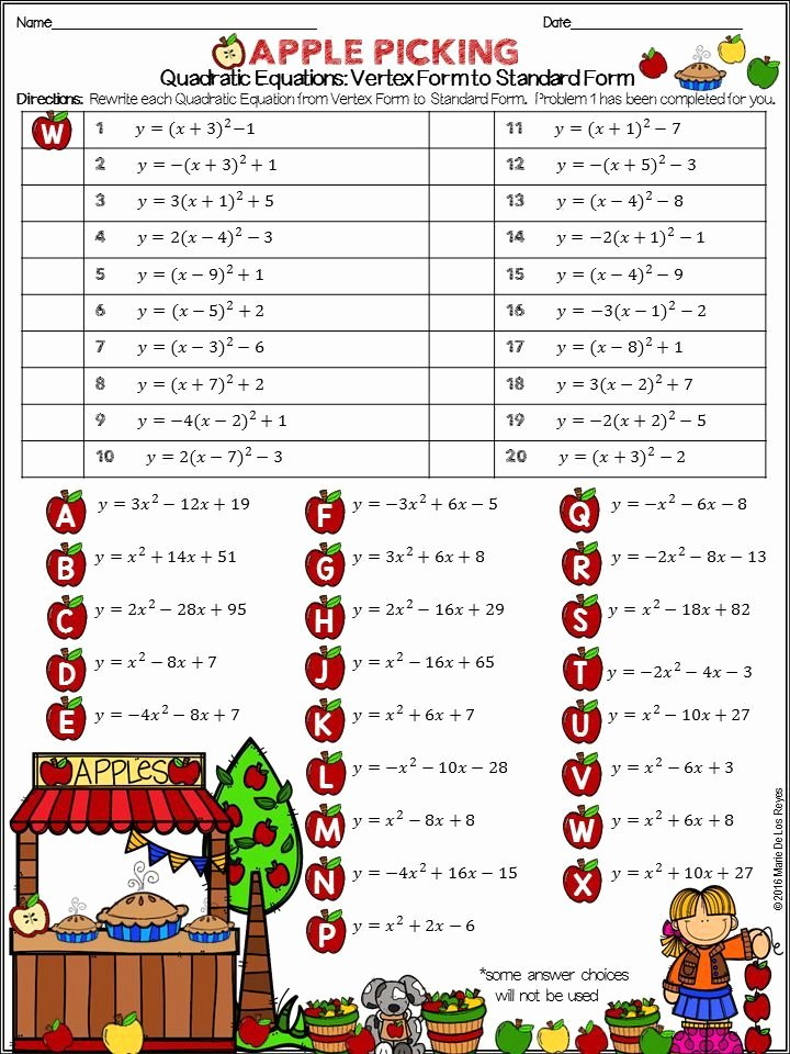 Quadratic Equation Worksheet with Answers Lovely Writing Quadratic Equations Vertex form to Standard form