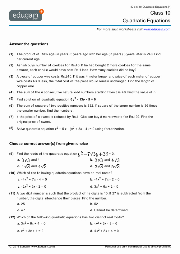 Quadratic Equation Worksheet with Answers New Grade 10 Math Worksheets and Problems Quadratic Equations