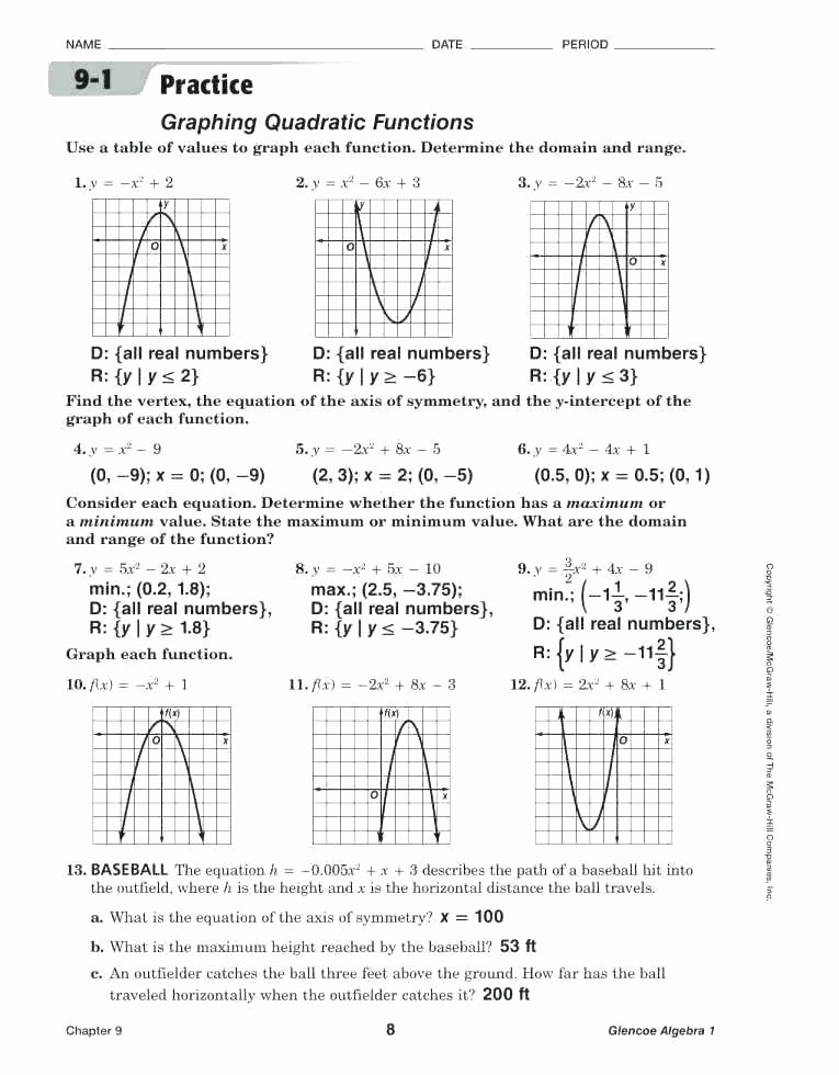 Quadratic Equations Word Problems Worksheet Fresh solve Quadratic Equation by Graphing Worksheet Pdf