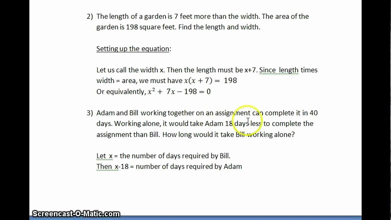 Quadratic Equations Word Problems Worksheet Fresh Worksheet Quadratic Equations Word Problems Worksheet