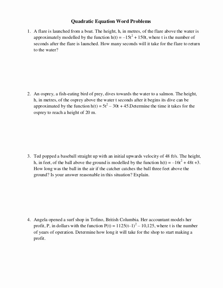 Quadratic Equations Word Problems Worksheet Inspirational Quadratic Equation Word Problems