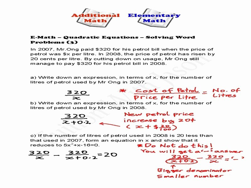 Quadratic Equations Word Problems Worksheet Lovely Quadratic Equation Word Problems Worksheet Free