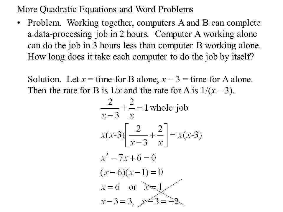 Quadratic Equations Word Problems Worksheet Lovely Quadratic Word Problems Worksheet